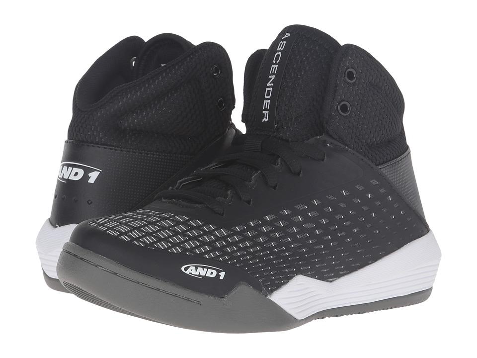Image of AND1 Kids - Ascender (Little Kid/Big Kid) (Black/White/Gunmetal) Boys Shoes