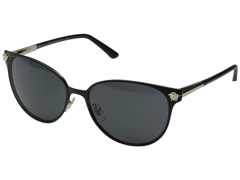 Versace VE2168 Matte Black/Pale Gold/Grey Fashion Sunglasses