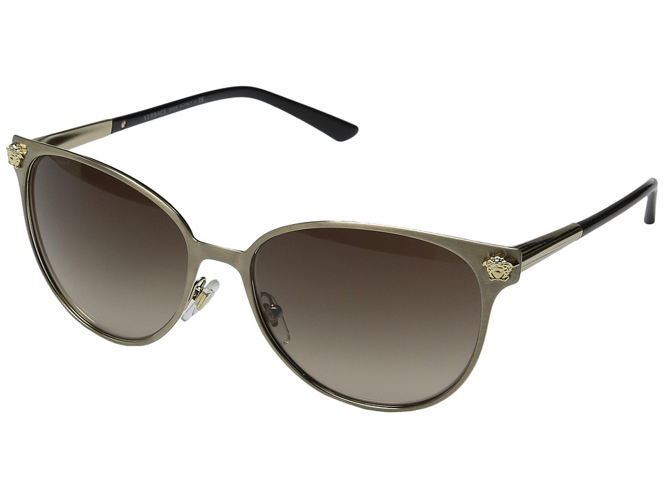 Versace VE2168 Brushed Pale Gold/Brown Gradient Fashion Sunglasses