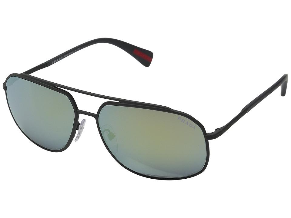 Prada Linea Rossa - 0PS 56RS (Grey Rubber/Mirror Green) Fashion Sunglasses