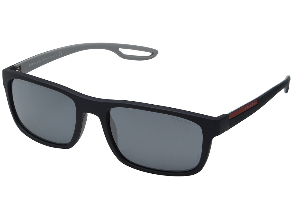 Prada Linea Rossa 0PS 03RS Rubber Blue/Light Grey Mirror Fashion Sunglasses