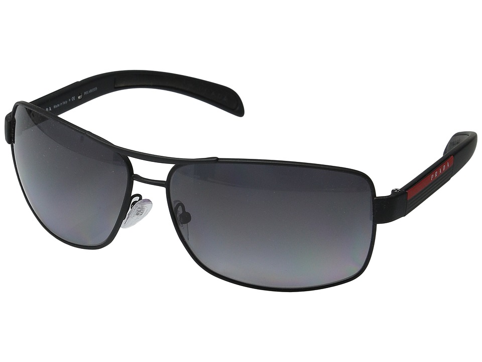 Prada Linea Rossa 0PS 54IS Black Rubber/Grey Polarized Metal Frame Fashion Sunglasses