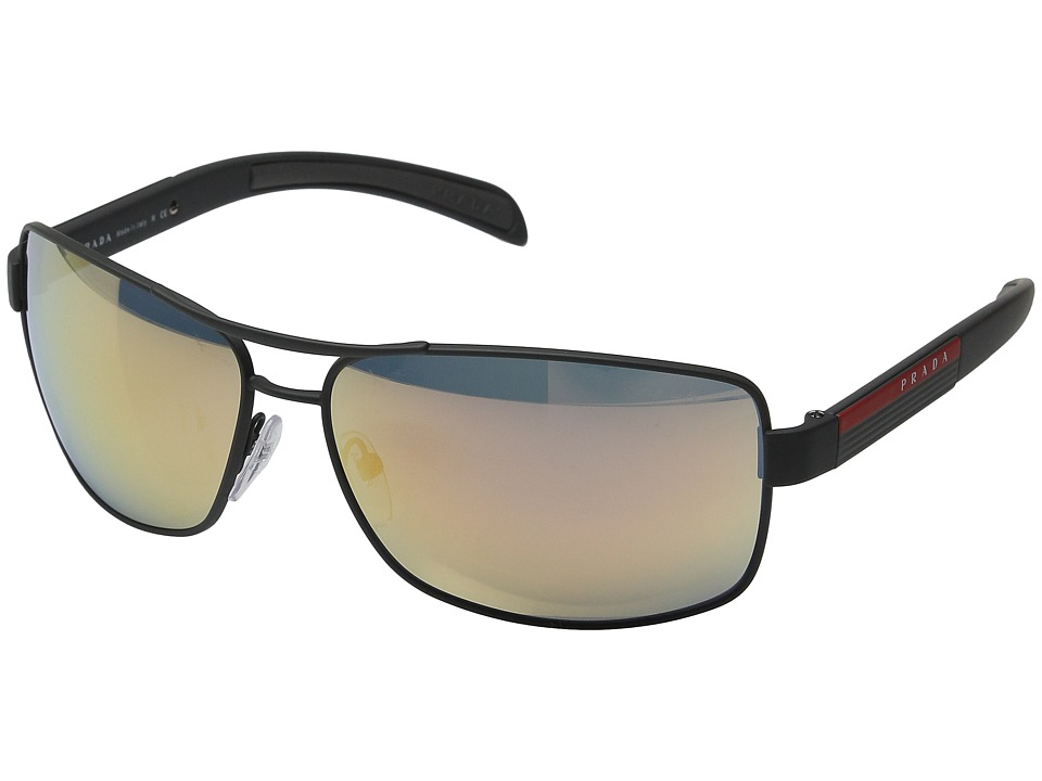 Prada Linea Rossa 0PS 54IS Grey Rubber/Grey Rose Gold Mirror Metal Frame Fashion Sunglasses