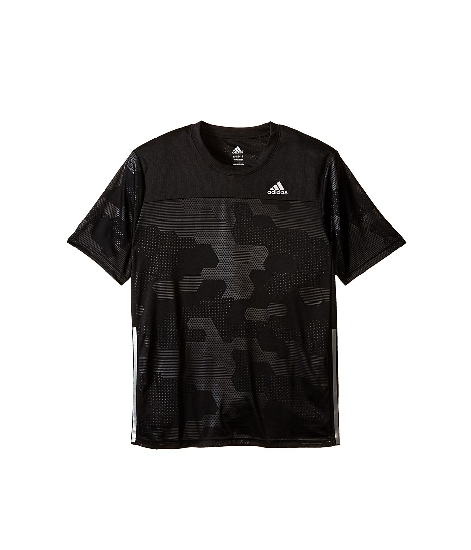 adidas Kids Embossed Digi Camo Short Sleeve Shirt (Big Kids) (Black) Boy