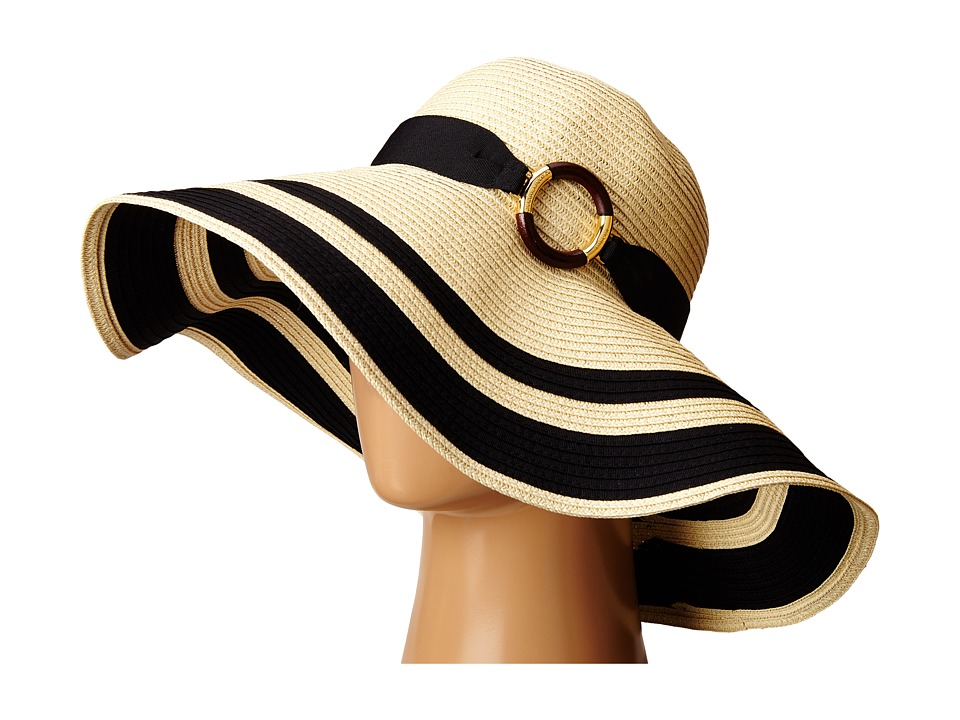 LAUREN by Ralph Lauren - Paper Straw Bright Natural Sun Hat NaturalBlack Traditional Hats $48.00 AT vintagedancer.com