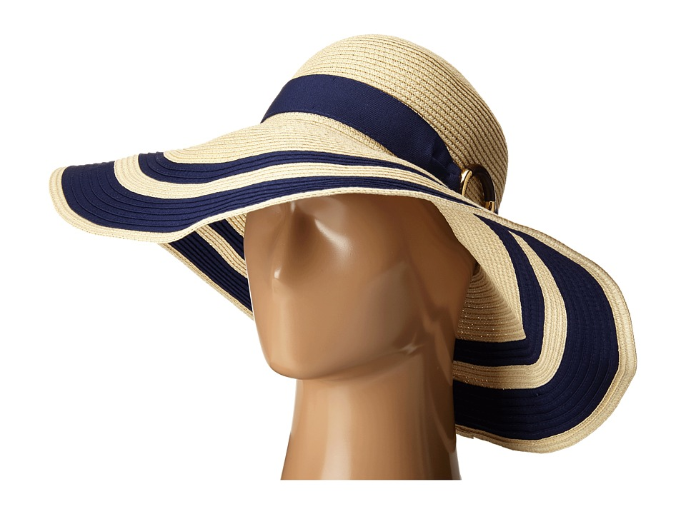 LAUREN by Ralph Lauren - Paper Straw Bright Natural Sun Hat NaturalCapri Navy Traditional Hats $48.00 AT vintagedancer.com