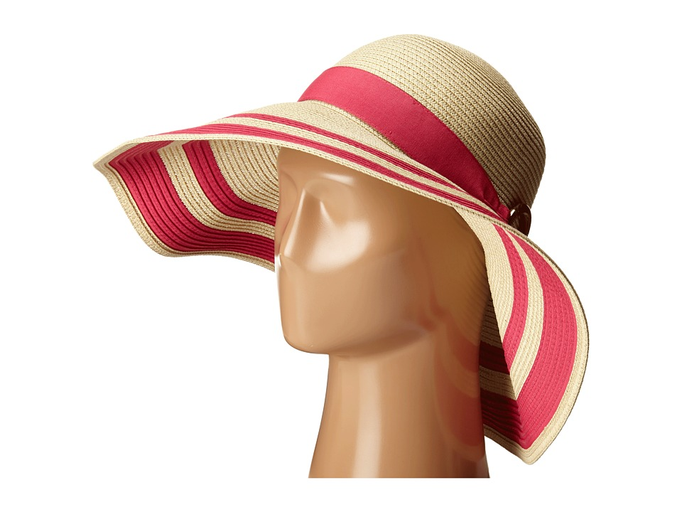 LAUREN by Ralph Lauren - Paper Straw Bright Natural Sun Hat NaturalExotic Pink Traditional Hats $48.00 AT vintagedancer.com