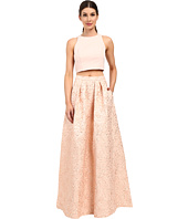 Aidan Mattox - Two-Piece Brocade Ball Skirt with Solid Halter Top