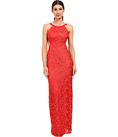Aidan Mattox - Long Lace Halter Gown with Open Back and Cut Out Sides