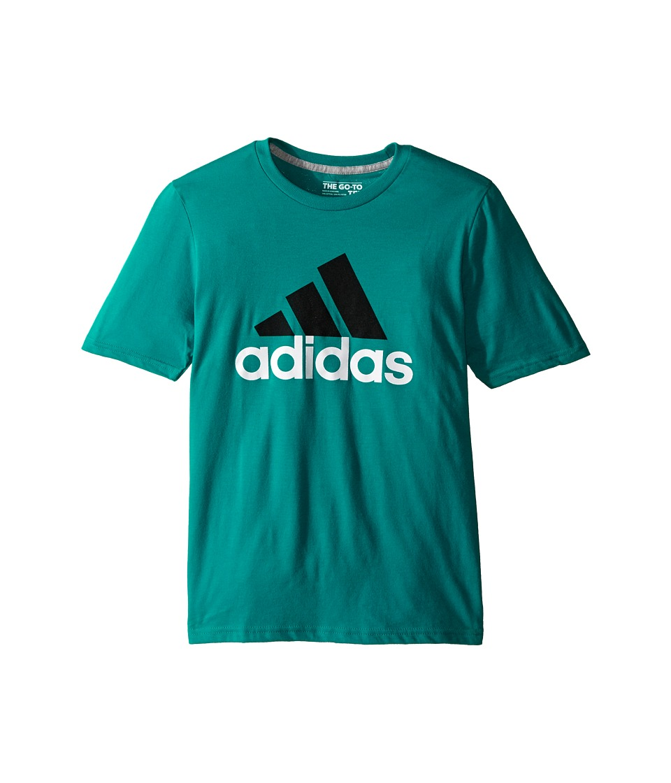 adidas Kids 30s S/S Tee Adi Logo Big Kids EQT Green/Black Boys Short Sleeve Pullover