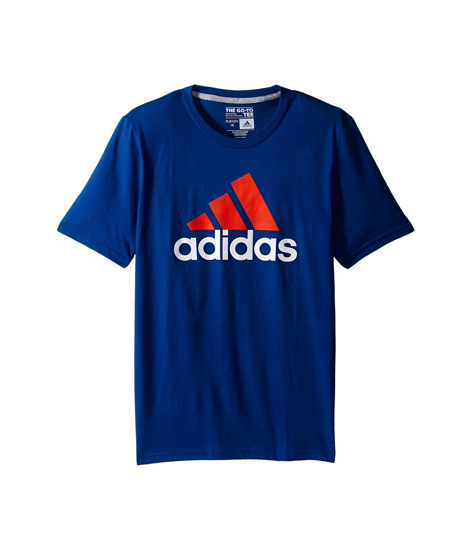adidas Kids 30s S/S Tee Adi Logo Big Kids EQT Blue/Super Orange Boys Short Sleeve Pullover