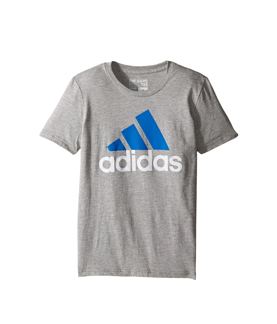 adidas Kids 30s S/S Tee Adi Logo Big Kids Medium Grey Heather/Shock Blue Boys Short Sleeve Pullover