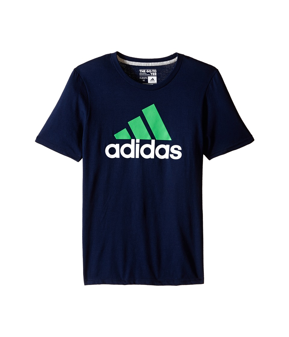 adidas Kids 30s S/S Tee Adi Logo Big Kids Collegiate Navy/Solar Lime Boys Short Sleeve Pullover