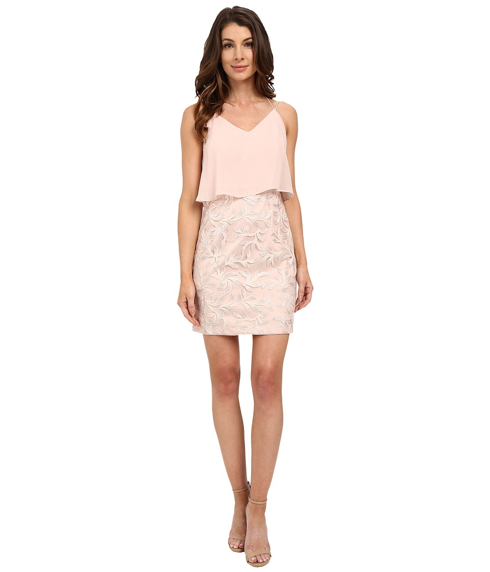 Aidan Mattox Pop Over Chiffon Top with Embroidered Skirt (Blush/Multi) Women