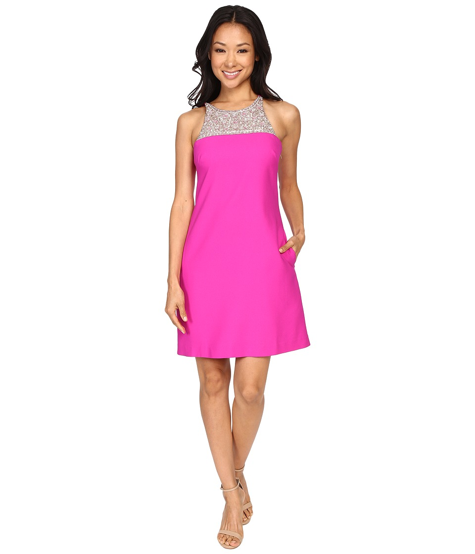 Aidan Mattox A Line Crepe Dress with Beaded Necklace Detail Berry Womens Dress