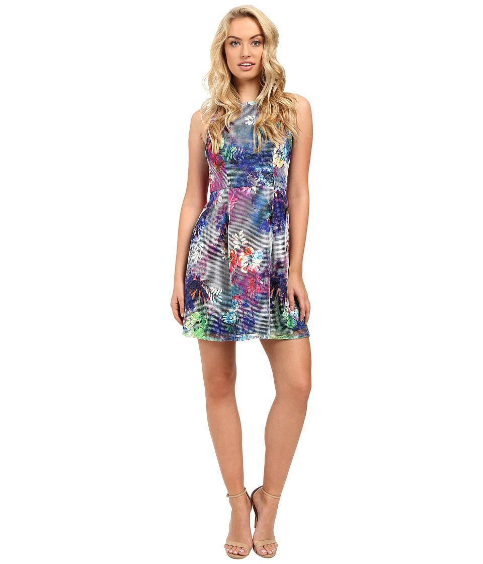 Aidan Mattox Sleeveless Printed Mesh Party Dress (Blue Multi) Women
