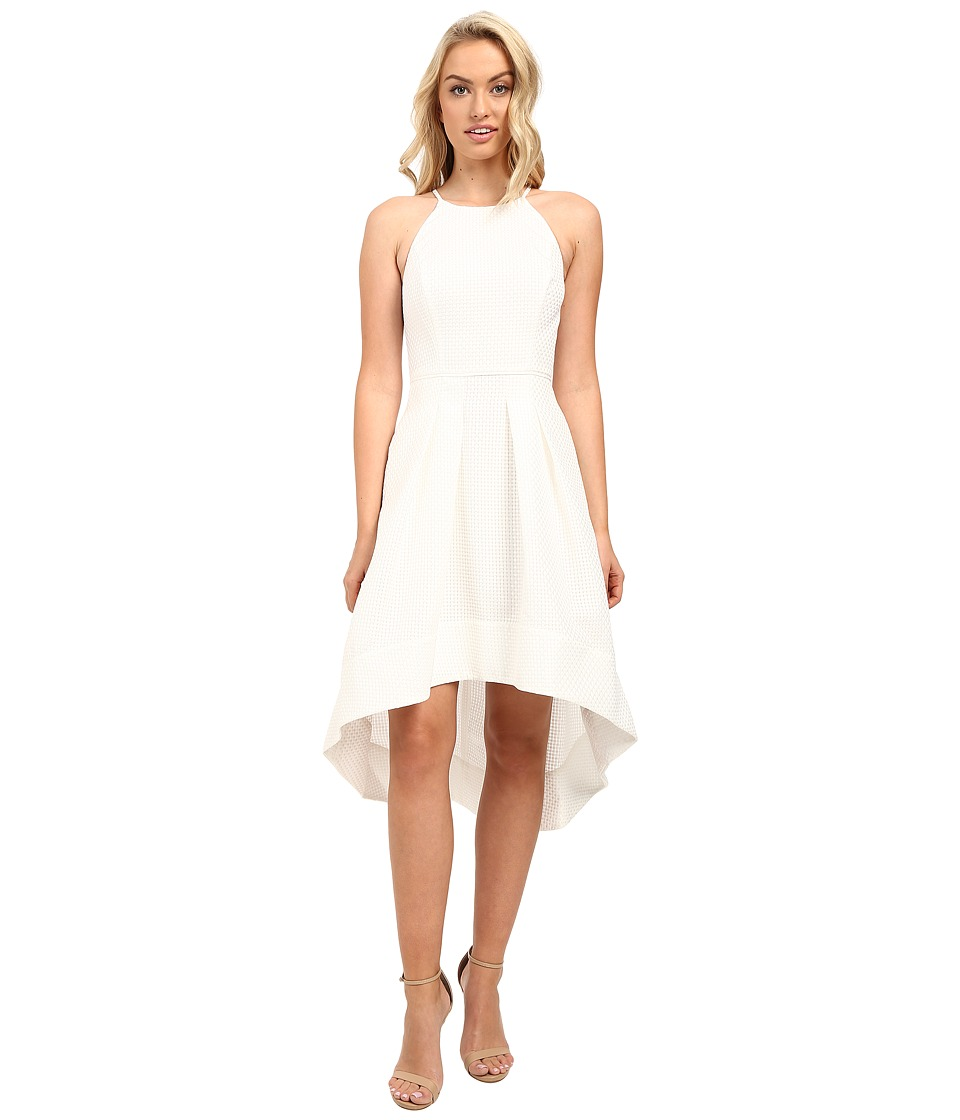 Aidan Mattox Sleeveless Basket Weave Pattern Halter with High-Low Hem (Ivory) Women