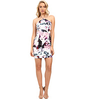 Aidan Mattox - Abstract Print Stretch Halter Dress with Side Cut Outs