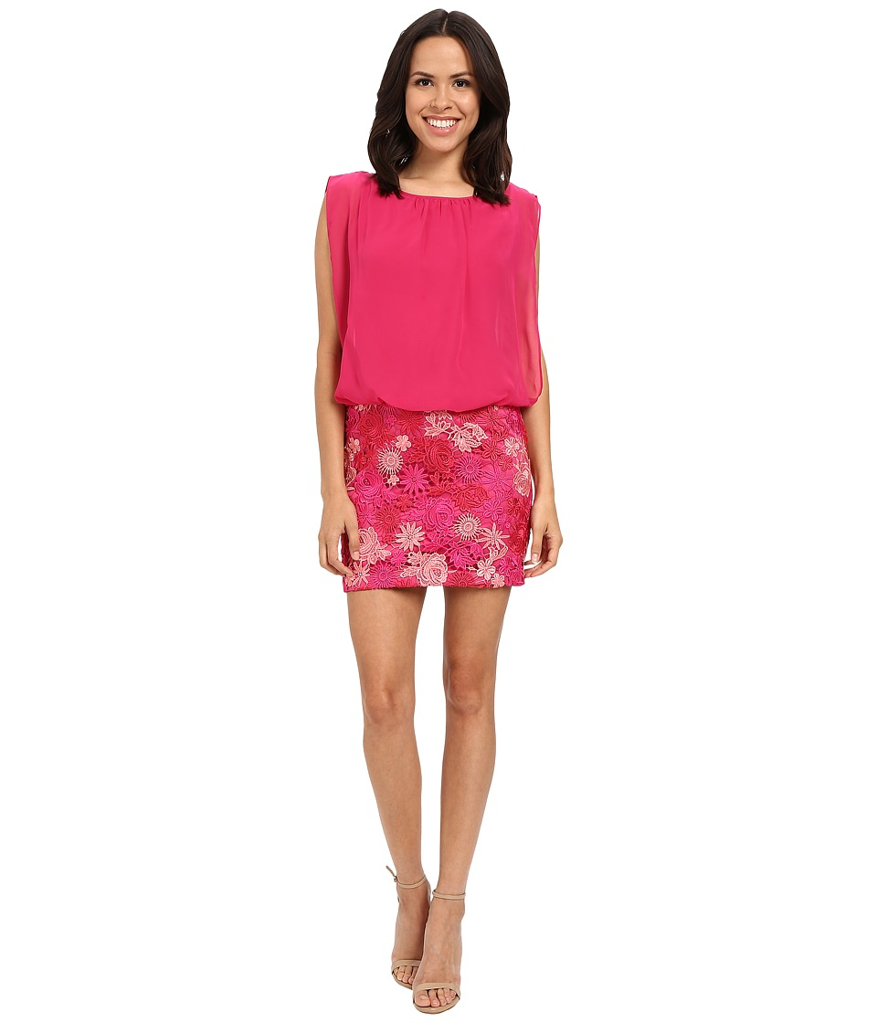 Aidan Mattox Solid Chiffon Top with Lace Blusson Skirt (Pink/Multi) Women