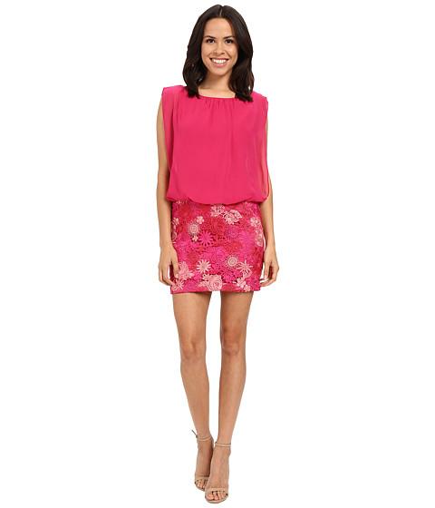 Aidan Mattox Solid Chiffon Top with Lace Blusson Skirt - Pink/Multi