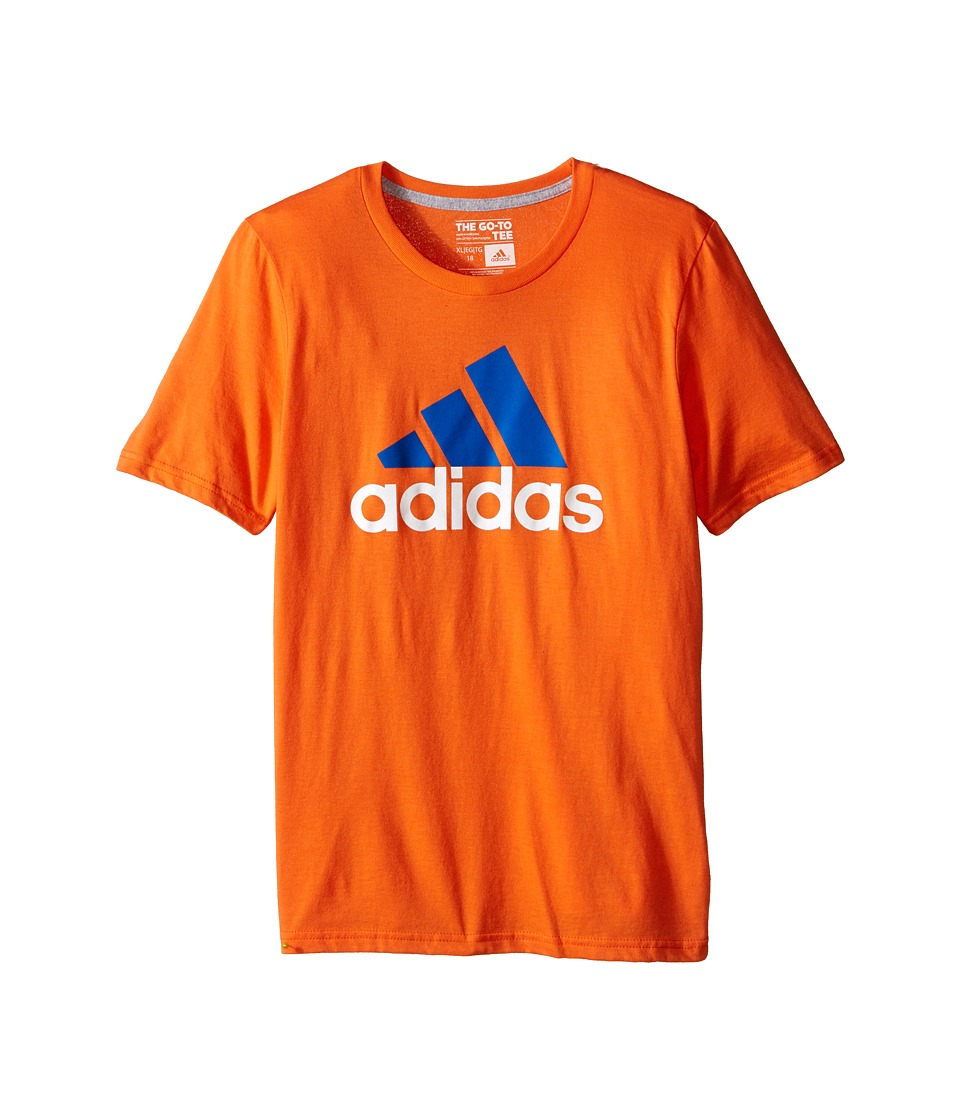 adidas Kids 30s S/S Tee Adi Logo Big Kids Super Orange/EQT Blue Boys Short Sleeve Pullover