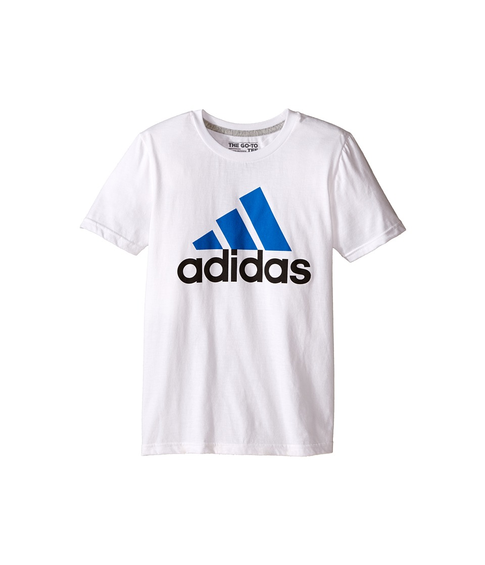 adidas Kids 30s S/S Tee Adi Logo Big Kids White/EQT Blue Boys Short Sleeve Pullover