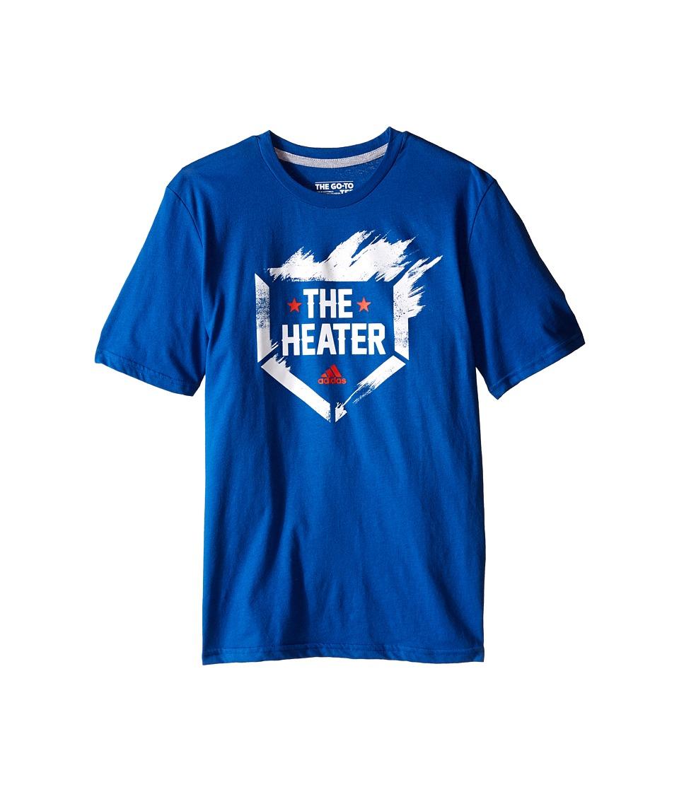 adidas Kids The Heater Tee (Big Kids) (EQT Blue/White) Boy