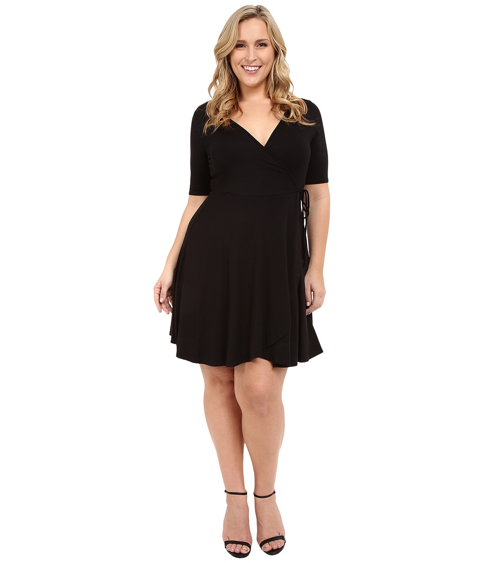 Christin Michaels Plus Size Cecilia Wrap Dress Black Womens Dress