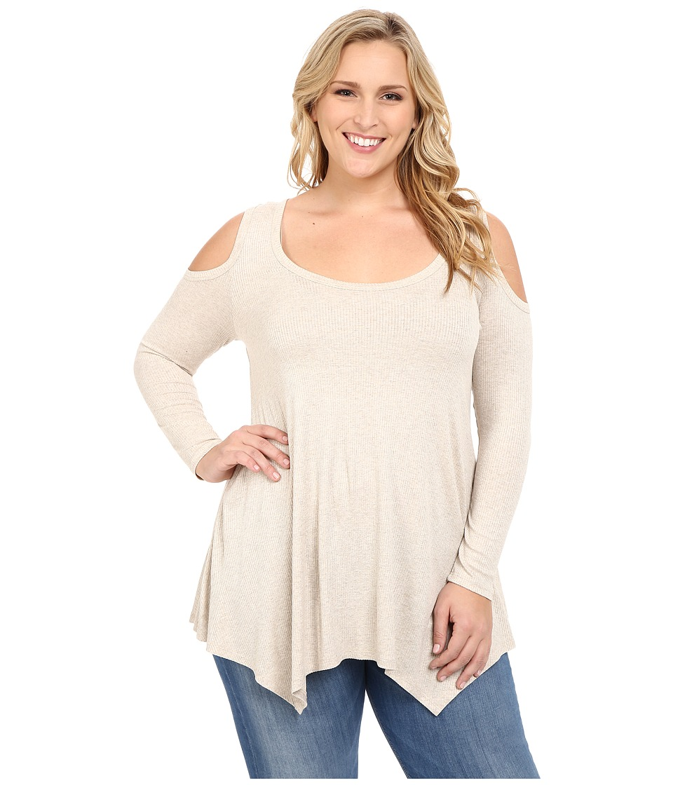 Christin Michaels Plus Size Rylan Ribbed Cold Shoulder Top Cream Womens Clothing