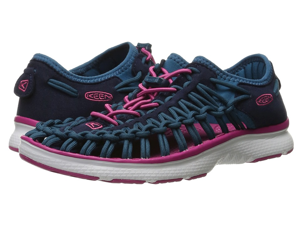 Keen Kids Uneek O2 (Little Kid/Big Kid) (Dress Blues/Very Berry) Girl's Shoes