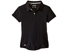 adidas Golf Kids Climalite Essentials Short Sleeve Heathered Polo (Big Kids) (Black/Black)