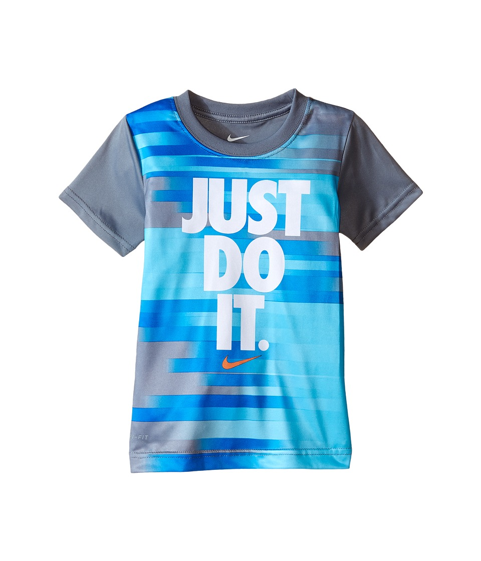 Nike Kids Just Do It Splice Dri FIT Short Sleeve Tee Toddler Cool Grey Boys T Shirt