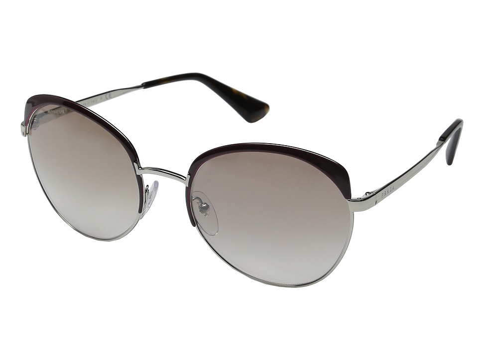 Prada 0PR 54SS Amaranth/Silver/Mirror Brown Fashion Sunglasses