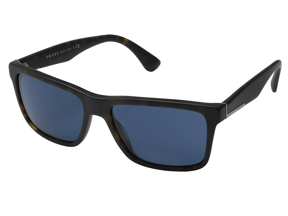 Prada - 0PR 19SS (Matte Havana/Blue) Fashion Sunglasses