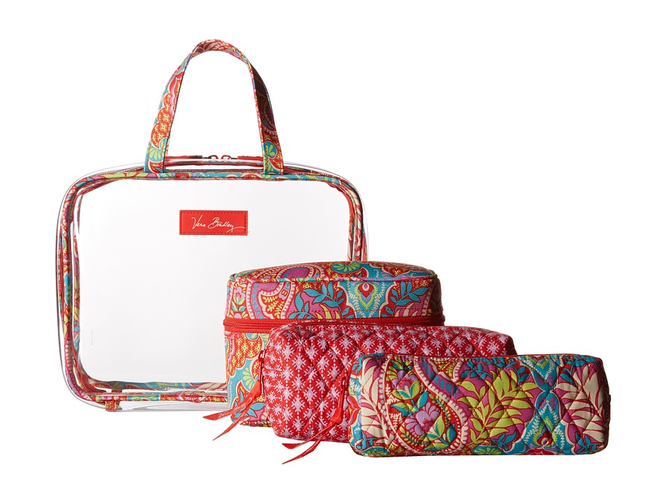 Vera Bradley Luggage Four Piece Cosmetic Organizer Paisley in Paradise Cosmetic Case