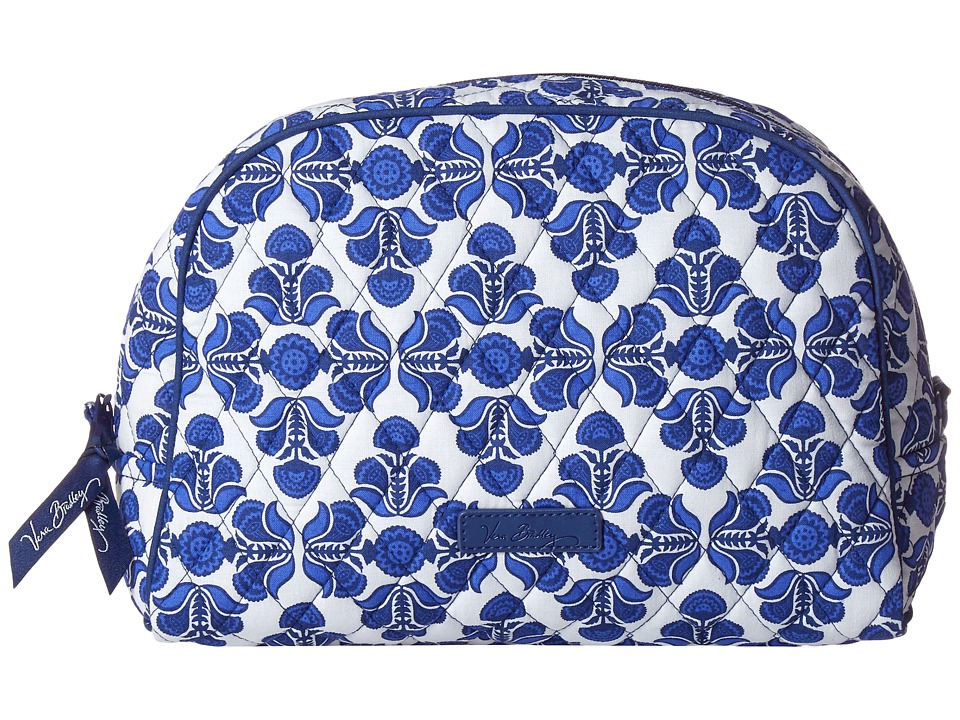 Vera Bradley Luggage Large Zip Cosmetic Cobalt Tile Cosmetic Case