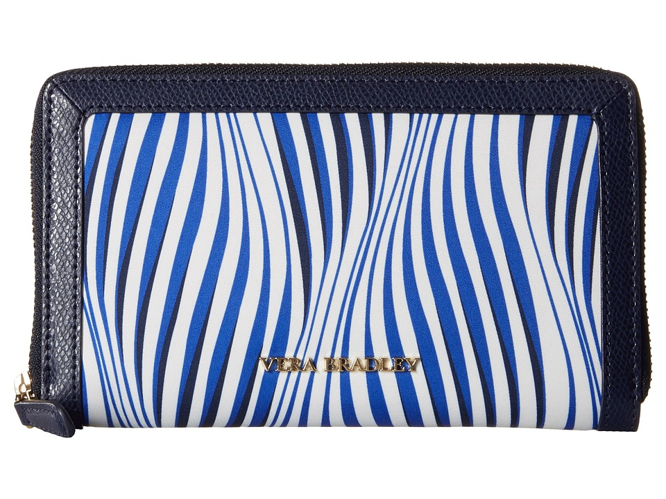 Vera Bradley Accordion Wallet Wavy Stripe/Navy Wallet Handbags