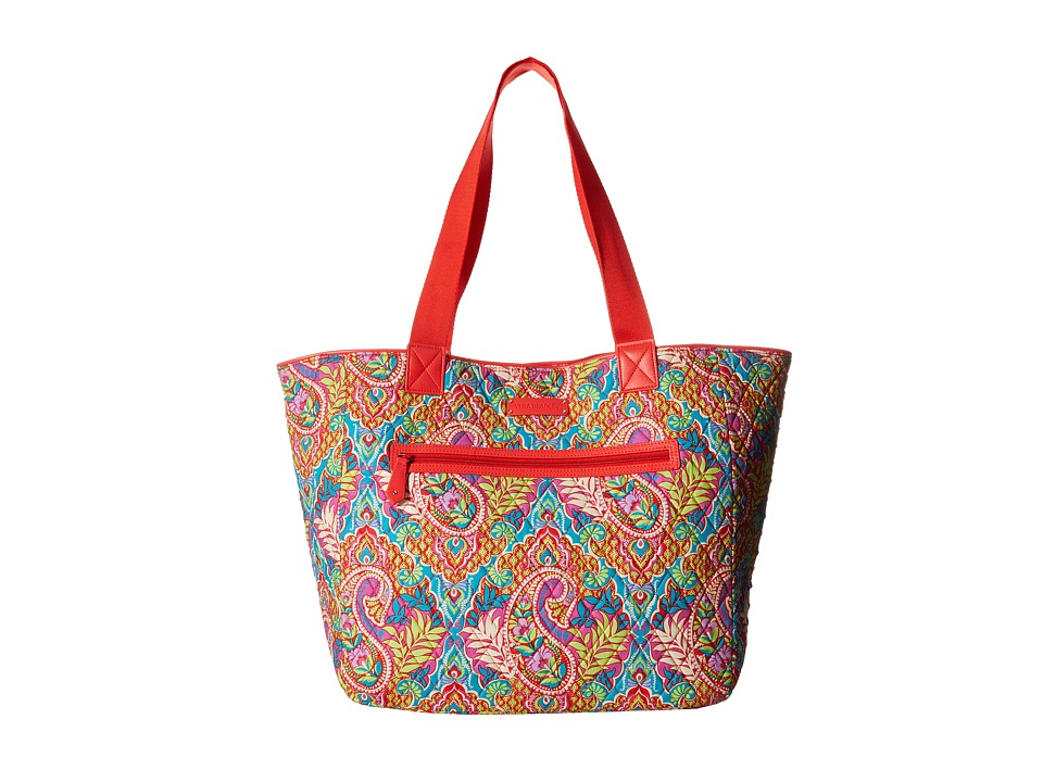 Vera Bradley Trimmed Reversible Tote Paisley in Paradise/Red Tote Handbags