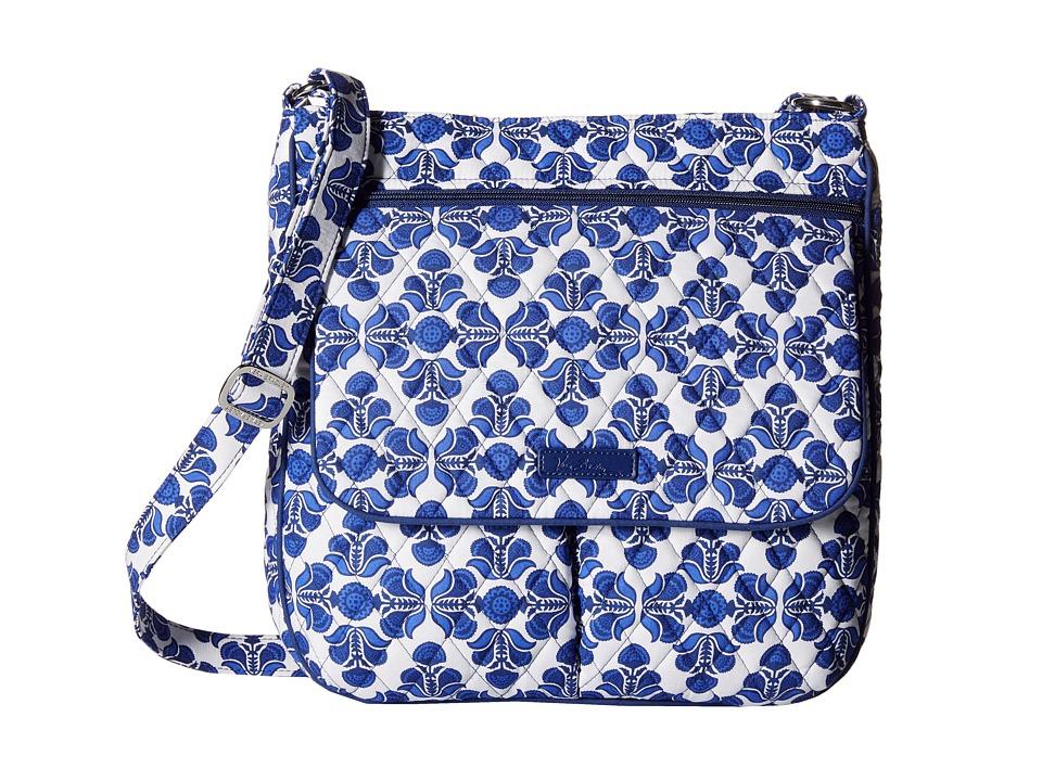 Vera Bradley Double Zip Mailbag Cobalt Tile Cross Body Handbags