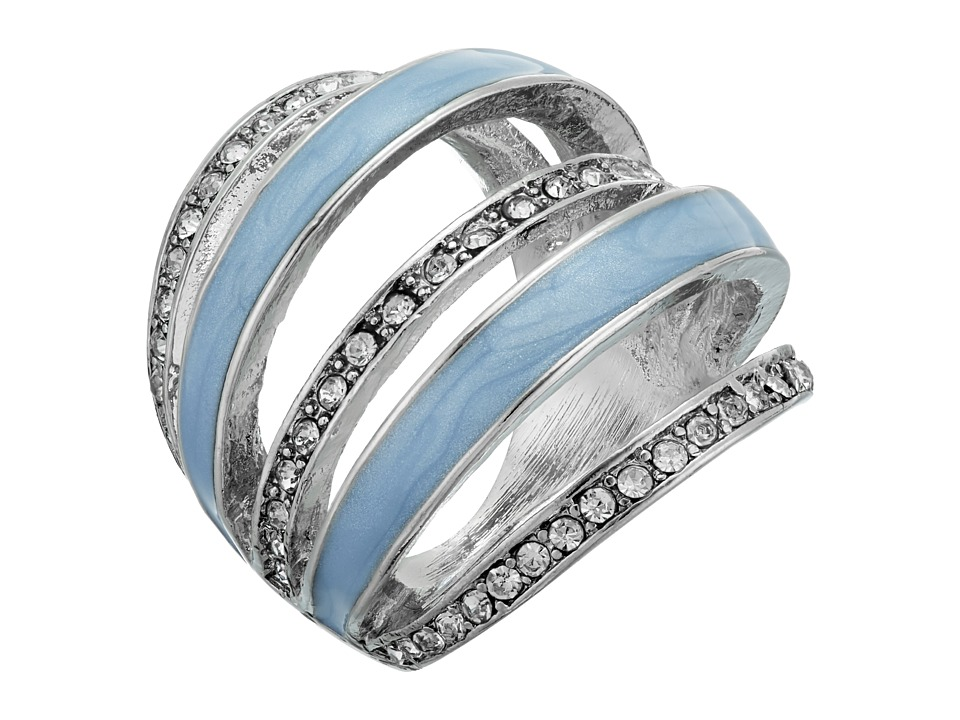 GUESS 5 Band Look Ring Silver/Crystal/Blue Ring