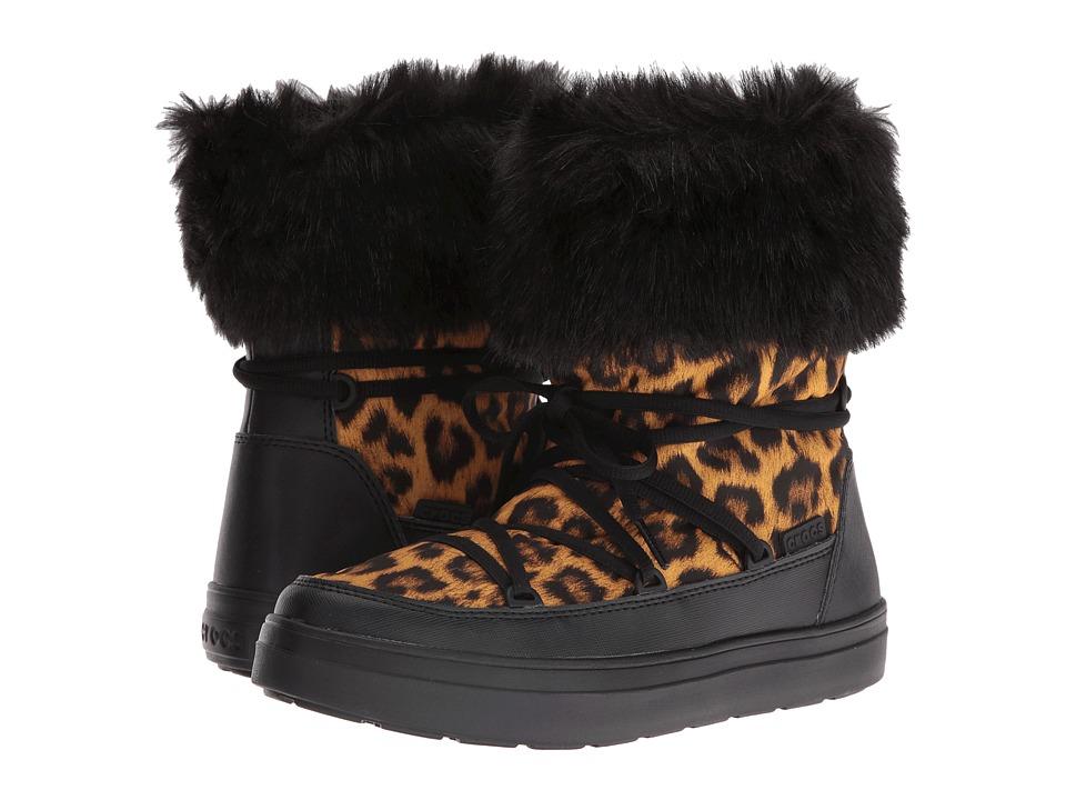 Crocs LodgePoint Lace Boot (Leopard/Black) Women