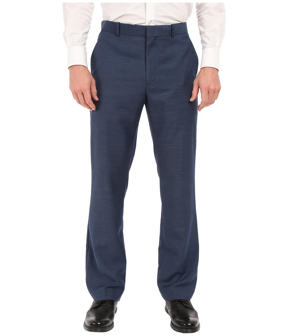 Perry Ellis Solid Texture Flat Front Suit Pants Bay Blue Mens Casual Pants