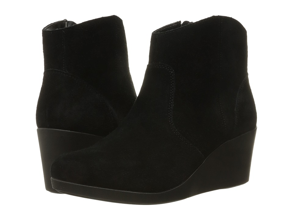 Crocs - Leigh Suede Wedge Bootie (Black) Women