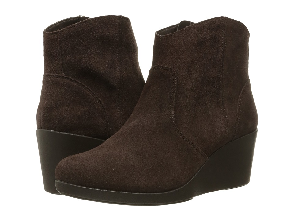 Crocs Leigh Suede Wedge Bootie (Espresso) Women's Boots