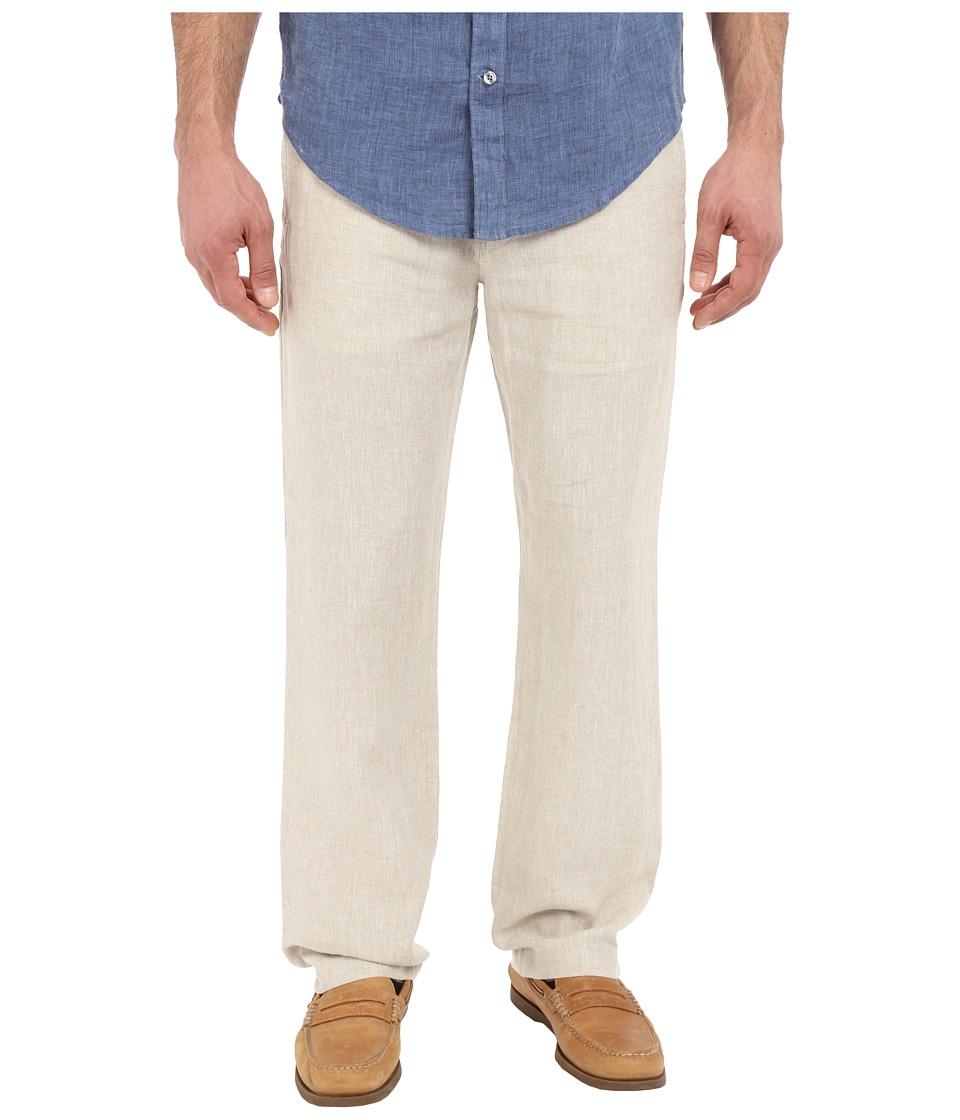 Perry Ellis Drawstring Linen Pants Natural Linen Mens Casual Pants