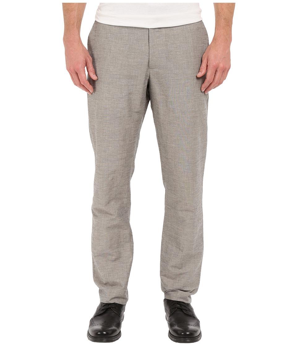 Perry Ellis Slim Fit Linen Cotton End on End Flat Front Pants Alloy Mens Casual Pants