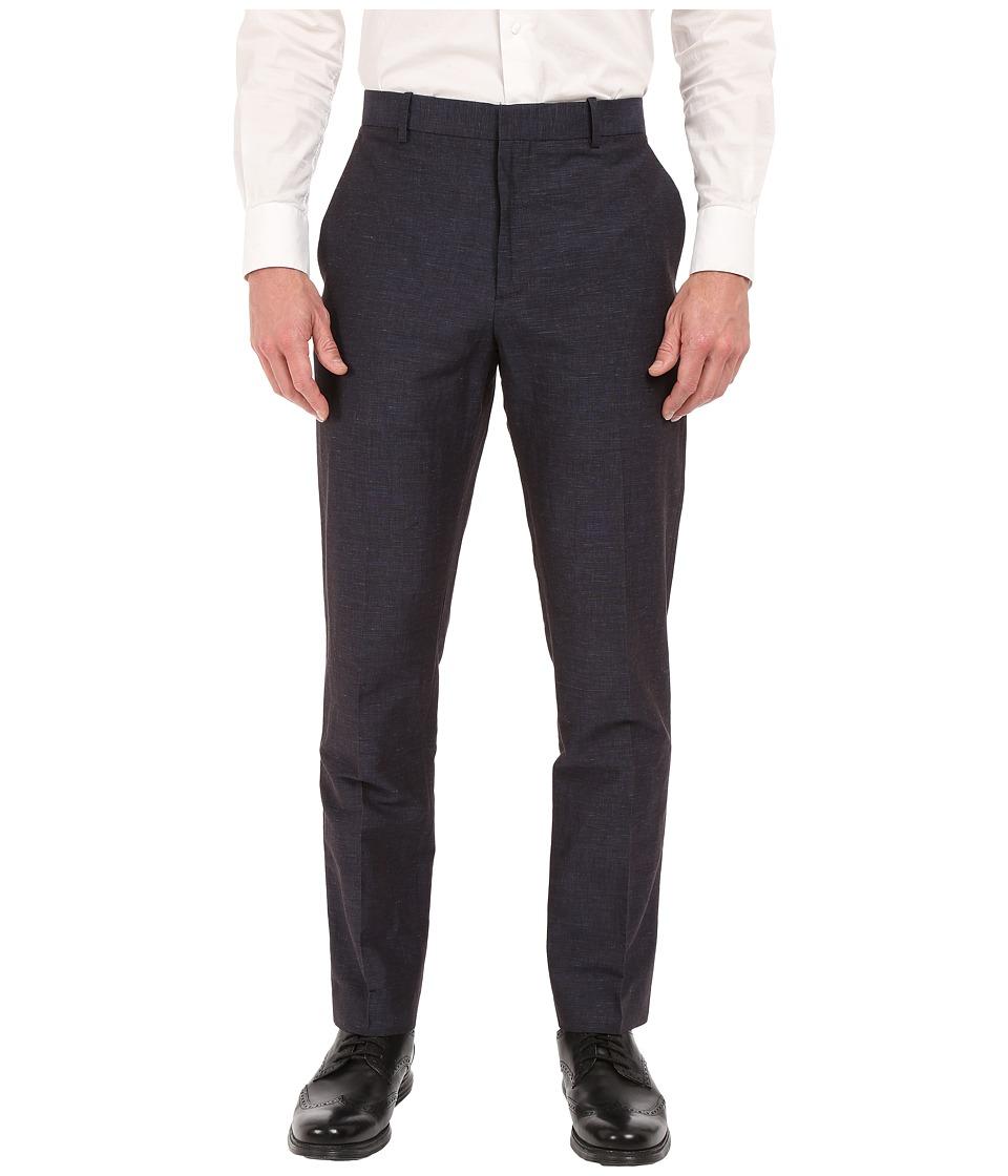 Perry Ellis Slim Fit Linen Cotton End on End Flat Front Pants Navy Mens Casual Pants