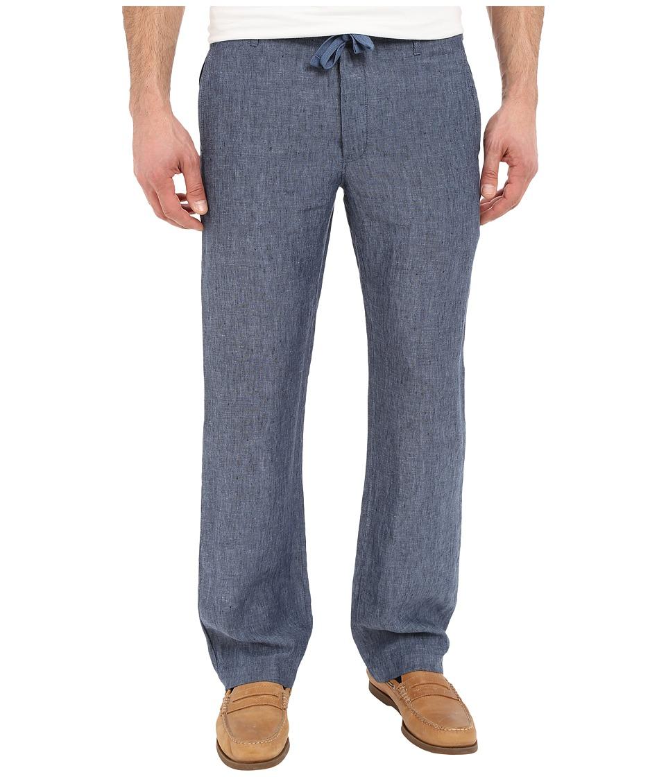 Perry Ellis Drawstring Linen Pants Bay Blue Mens Casual Pants