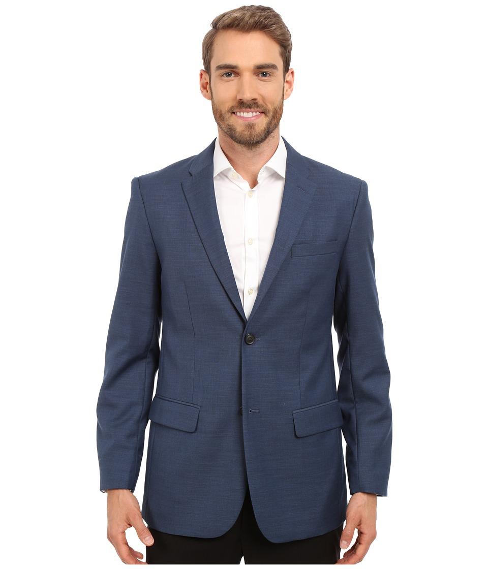 Perry Ellis Solid Texture Suit Jacket Bay Blue Mens Coat