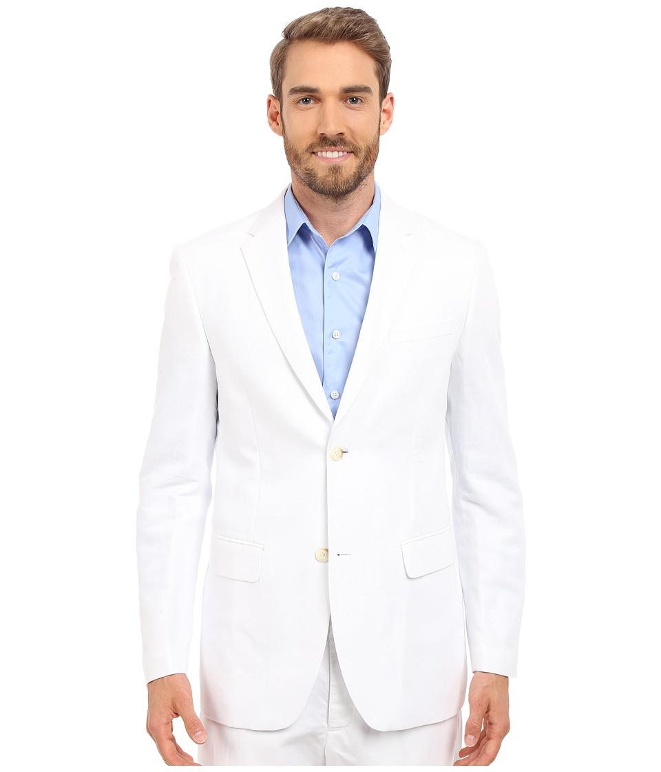 Perry Ellis Linen Suit Jacket Bright White Mens Coat